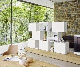 Hochwertige Livitalia Design Wohnwand C46 Eiche Weiß Matt