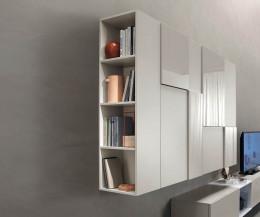 Hängende Design Wohnwand C07 mit seitlichen Bücherregal