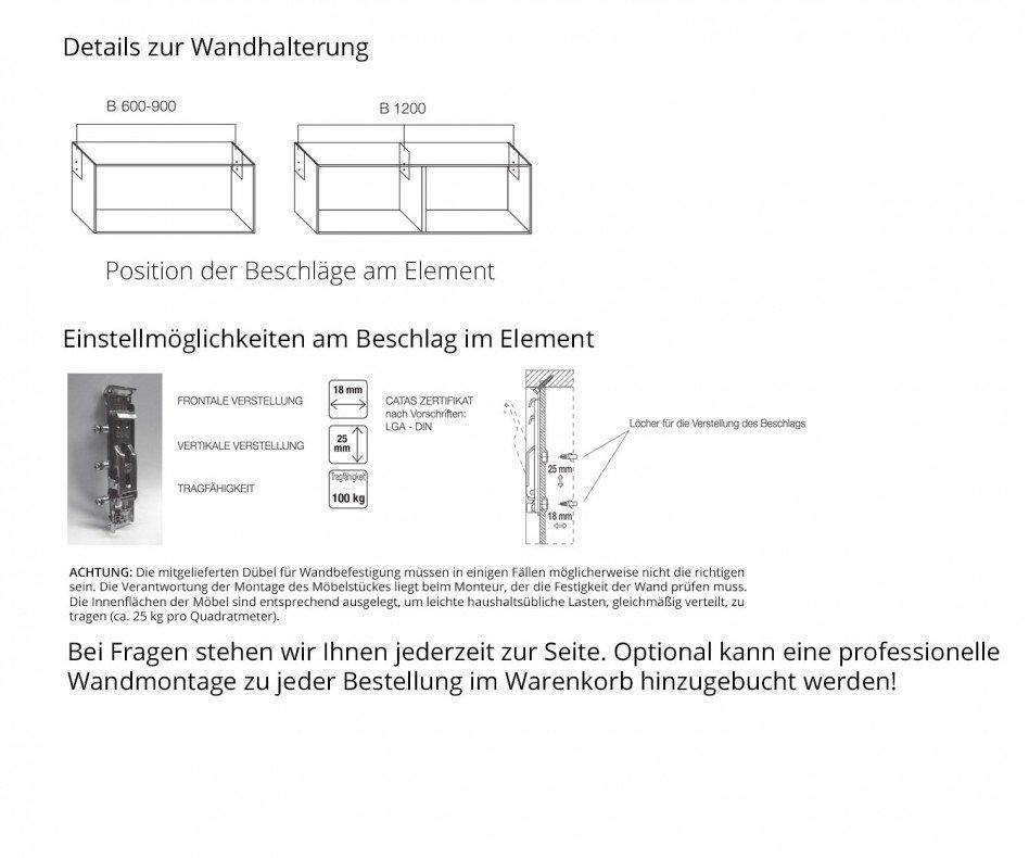 Exklusiver Livitalia Box Design Lowboard Konfigurator in Weiß Matt lackiert hängend