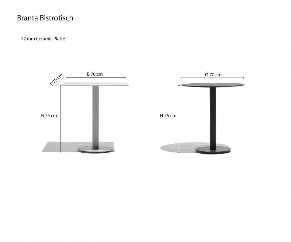 Exklusiver Todus Branta Bistrotisch mit Anthrazitgestell und Keramik Tischplatte