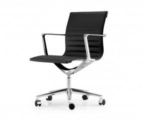 ICF Una Chair Management Bürostuhl Leder Aluminium Chrom