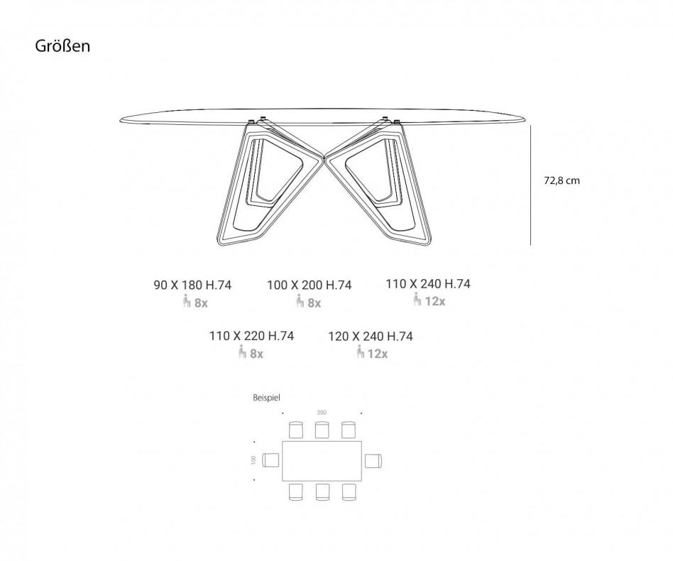 Wohnzimmer Tisch Ozzio Papillon Glas Tischplatte Gestell in dunkler Eiche