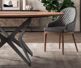 Hochwertiger Design Esstisch Detail Stärke der Tischplatte Walnuss Furnier Drehplatte