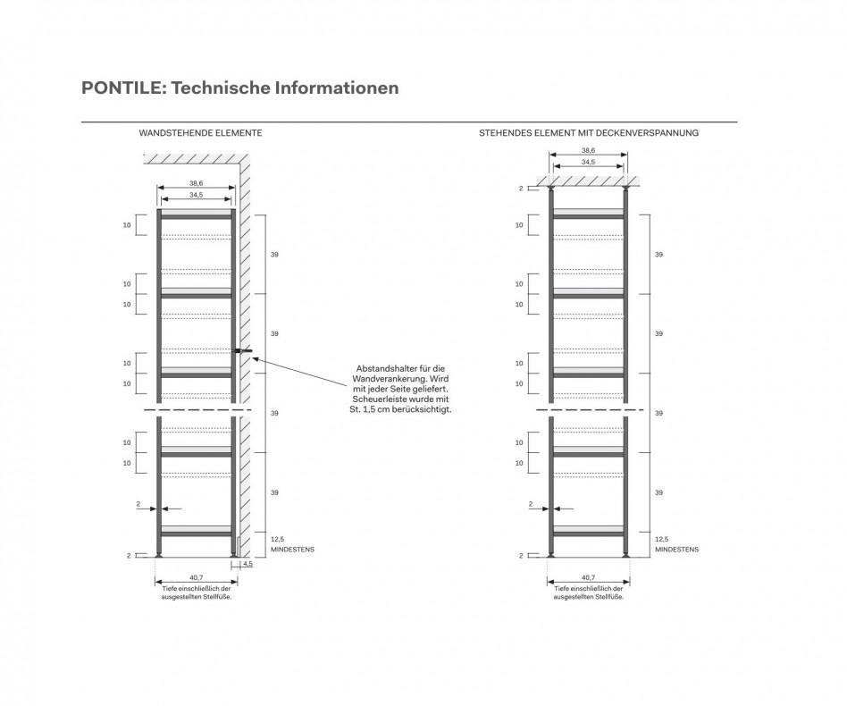 Novamobili Metallregal Pontile Regalsystem