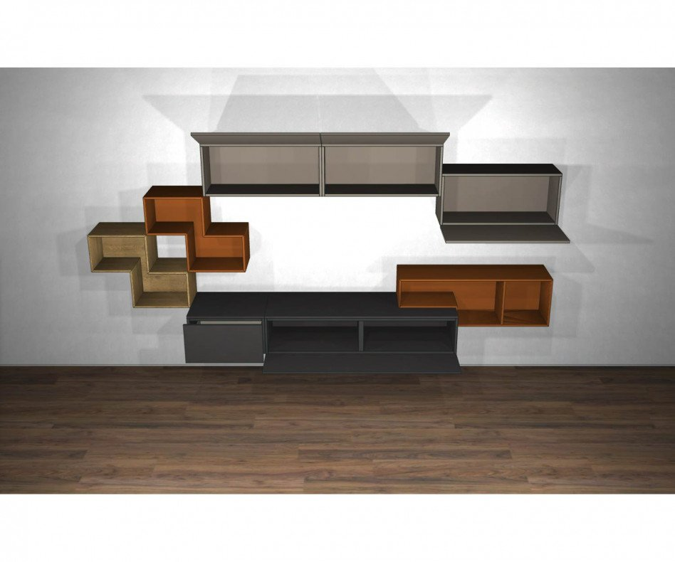 Schwebende Livitalia Design Wohnwand C23 Lowboard in Dunkelgrau Matt lackiert