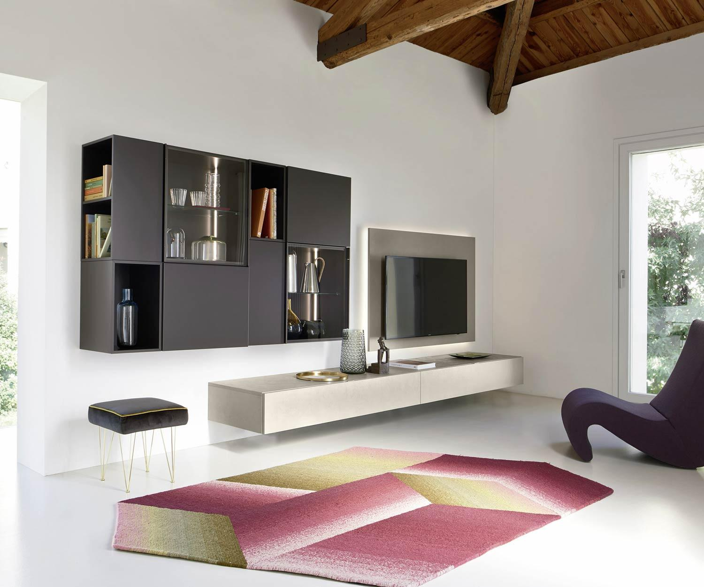 Livitalia Design schwebend Wohnwand C39 mit Betonoptik