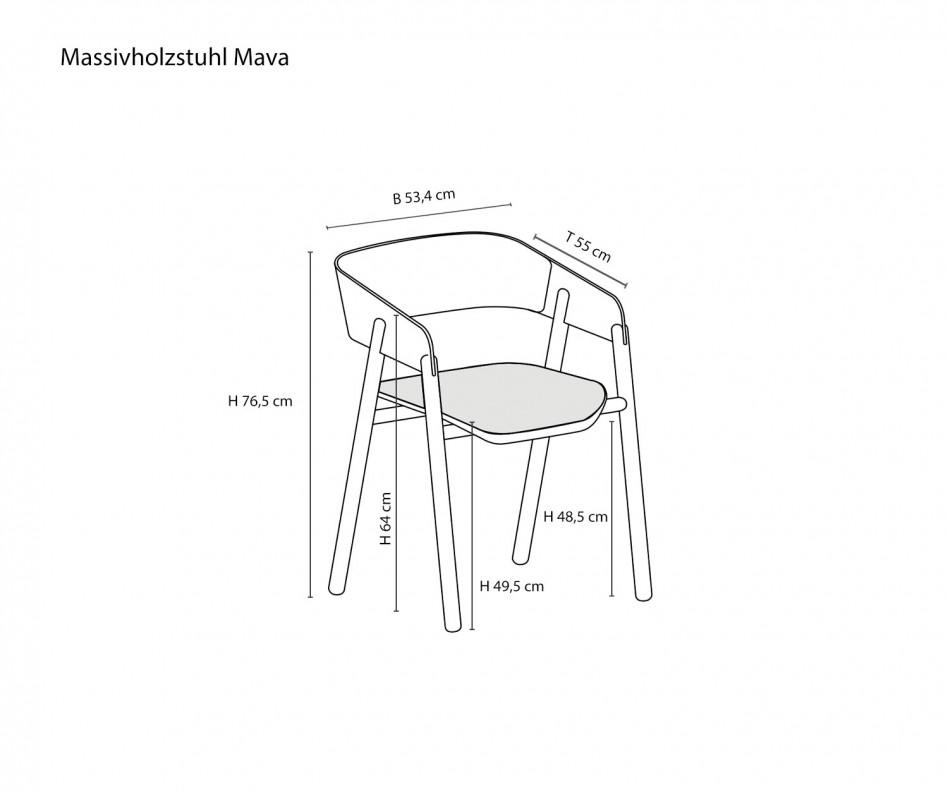 Moderner Punt Design Massivholzstuhl Mava Walnuss Eiche