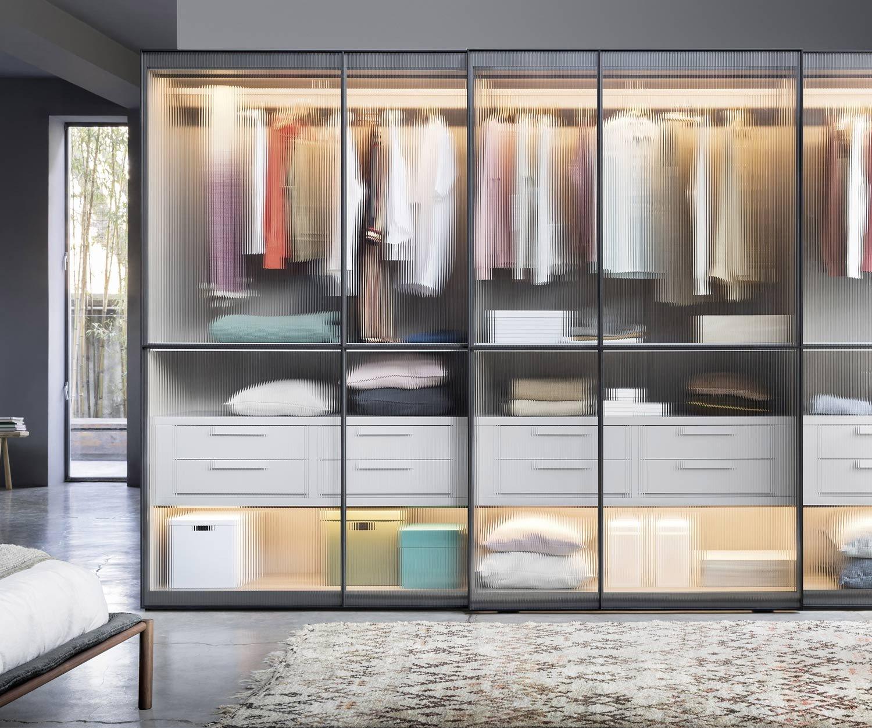 Novamobili Design Kleiderschrank Layer mit Schiebetüren Glas