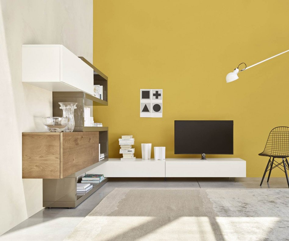 Exklusive Livitalia Design Eckwohnwand C29A mit Lowboard in Beige Matt lackiert