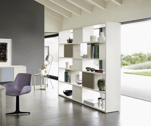 Exklusives Livitalia Design Standregal C92 Raumteiler Weiß