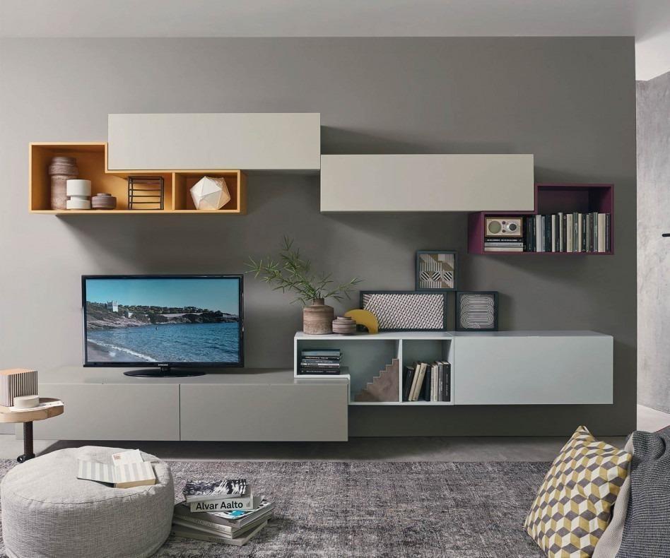 Wohnwand schwebend  Livitalia Tetris Wohnwand C19 Schwebend für die Wand
