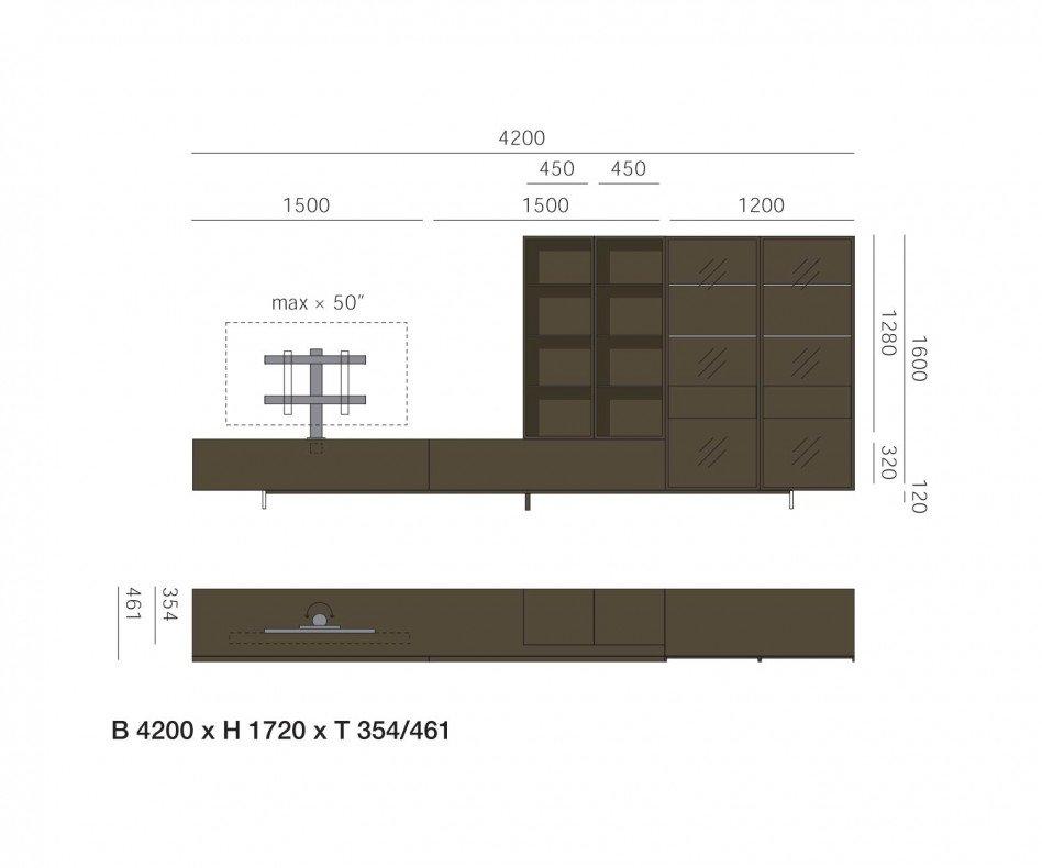 Exklusive Livitalia Design Wohnwand C43 mit Glasvitrine in Braun Matt lackiert