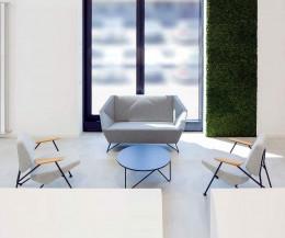 Modernes Prostoria Design Sofa 3angle in Hellgrau im Warteraum