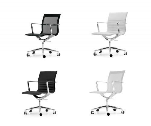 ICF Una Chair Management Bürostuhl Leder oder Mesh / Schwarz oder Weiß