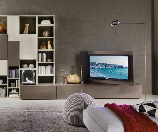Exklusives Livitalia Vision Lowboard mit 90° schwenkbarem TV Paneel