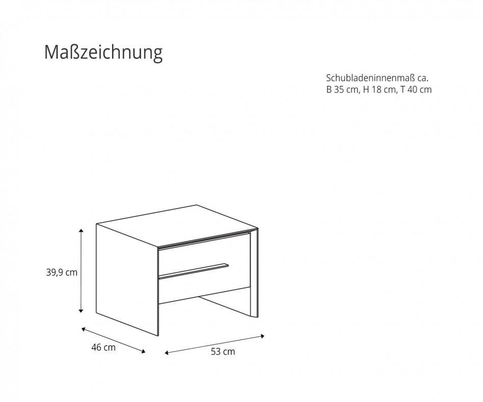 Novamobili Nachttisch Platone 1 Schublade Eiche Miele N02