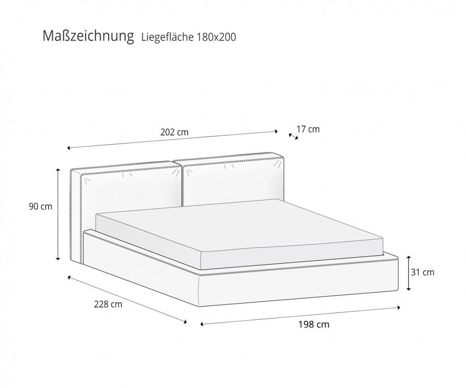 Hochwertiges Novamobili Designer Polsterbett Brick mit Bettkasten