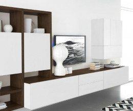 Moderne Livitalia Design Wohnwand C96B in Weiß Matt Eiche Braun