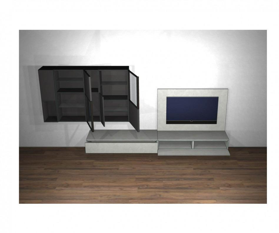 livitalia design schwebend wohnwand c39 mit betonoptik. Black Bedroom Furniture Sets. Home Design Ideas