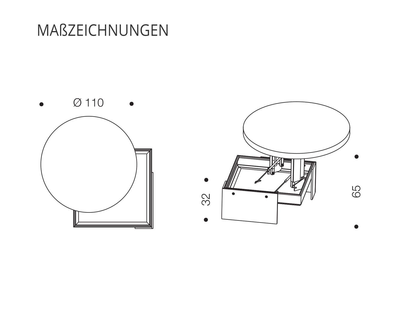 Ozzio Design Couchtisch höhenverstellbar mit Schwebeeffekt