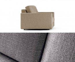 Prostoria Sofa Classic Stoffdetail in Grau Seitenansicht in Beige