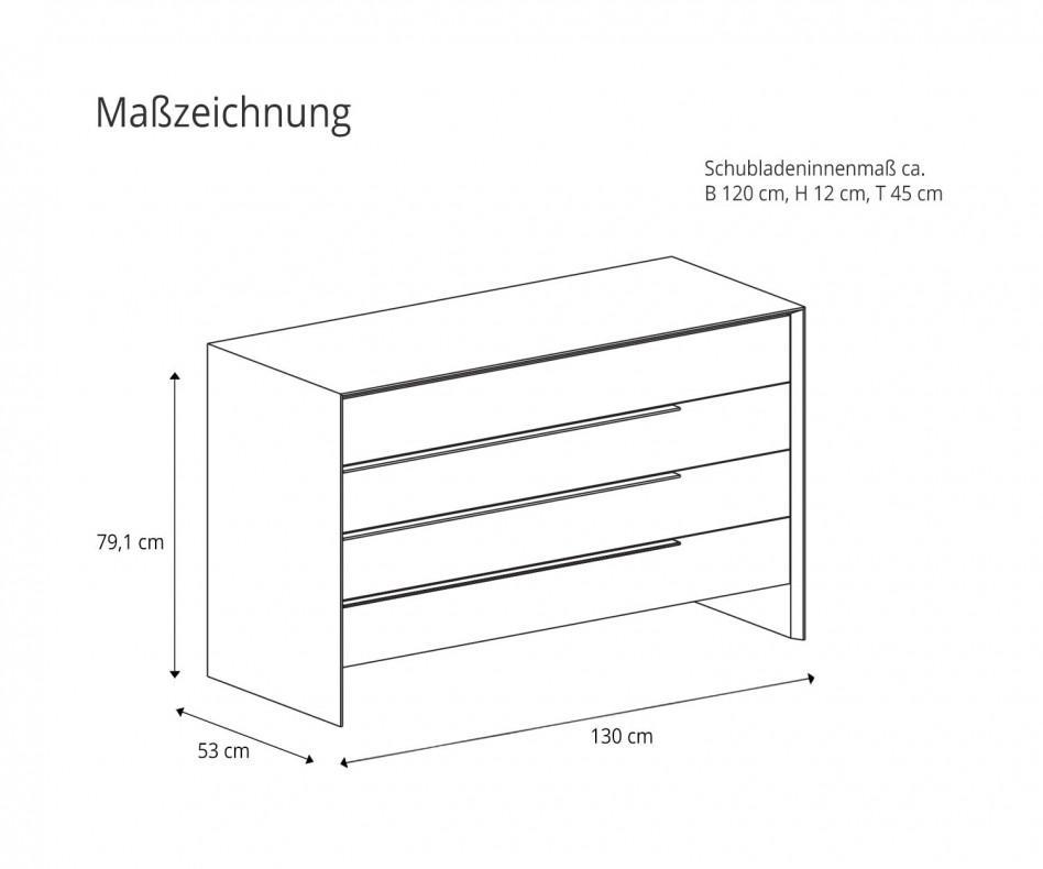 Novamobili Design Kommode Platone 4 Schubladen Eiche Miele
