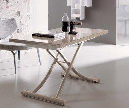 Ozzio Mondial Tisch T096 mit Glasplatte CR09 Creme