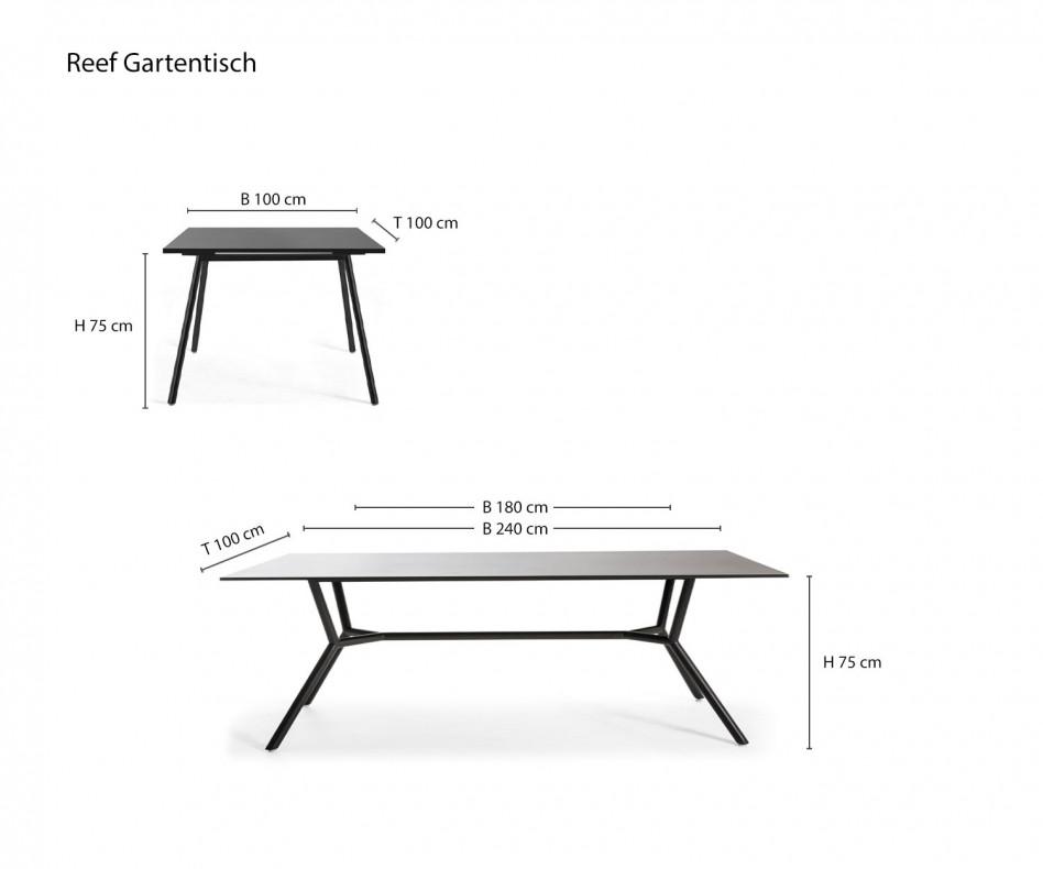 Exklusiver Oasiq Reef Design Gartentisch mit Stühlen Gestell in Anthrazit
