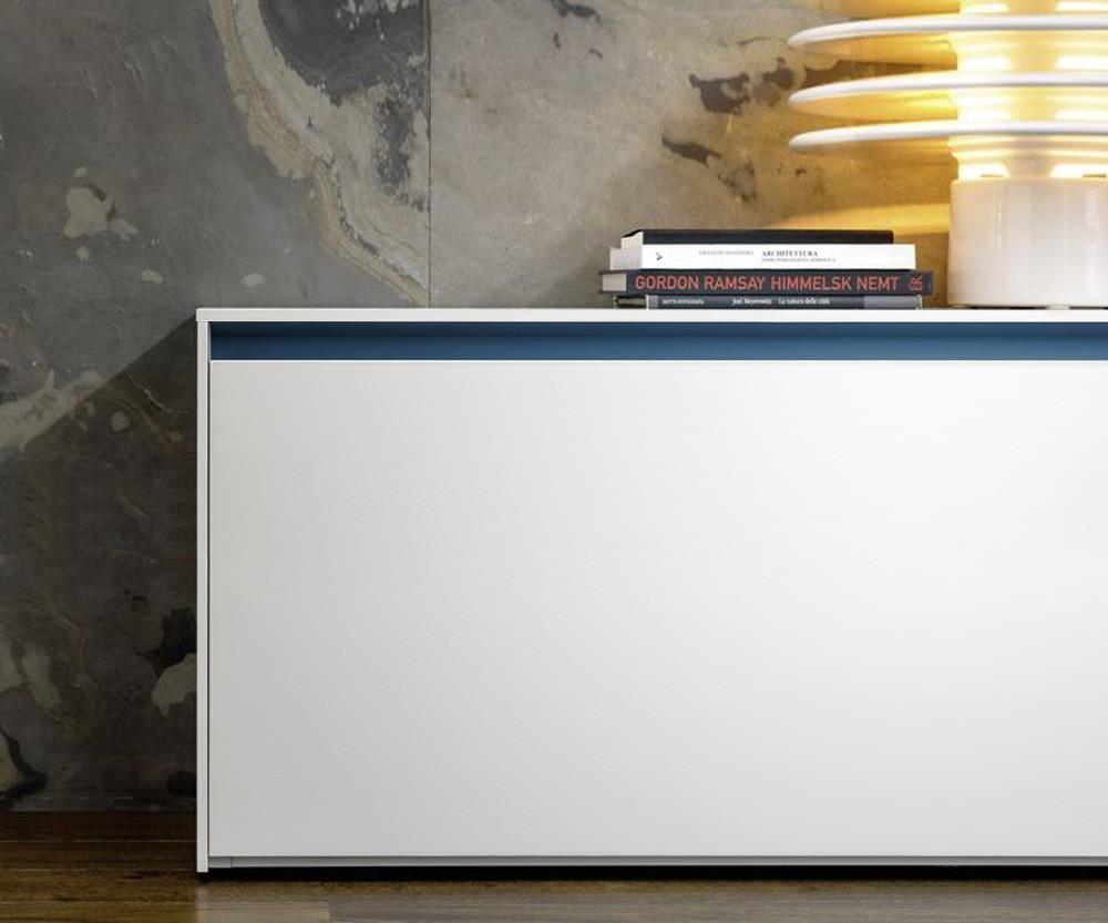 240 cm Wand Lowboard in Weiß Matt mit Rosso Griffleiste