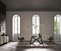 Designer Tisch von Ozzio Papillon im Wohnzimmer mit durchsichtiger Glasplatte Eichen Gestell