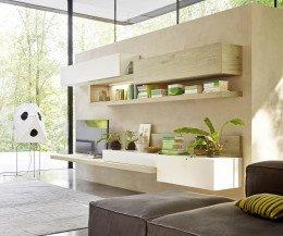 Livitalia Design Wohnwand C26 Eiche Weiß