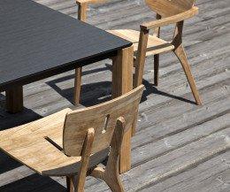Oasiq Machar Design Gartentisch Teak mit Stühlen Copenhagen und Diuna