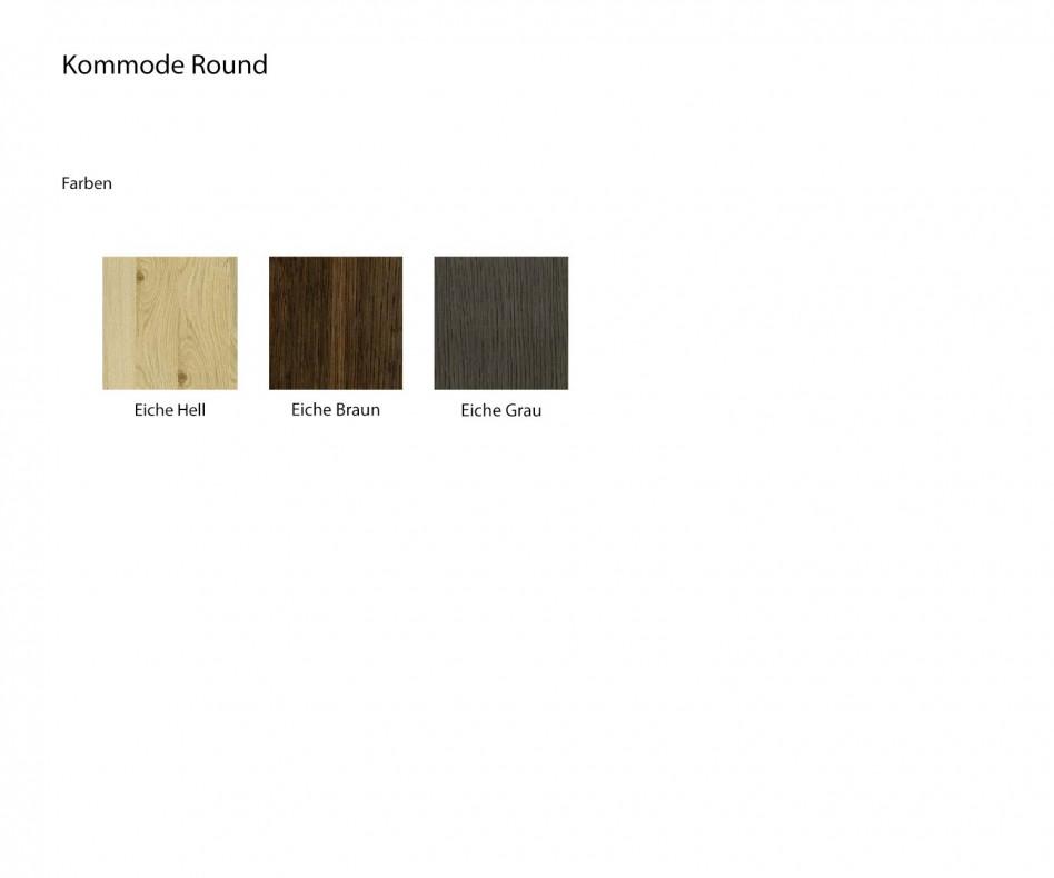 Livitalia Design Holz Kommode Round mit rundem Kantenprofil in Eichenfurnier