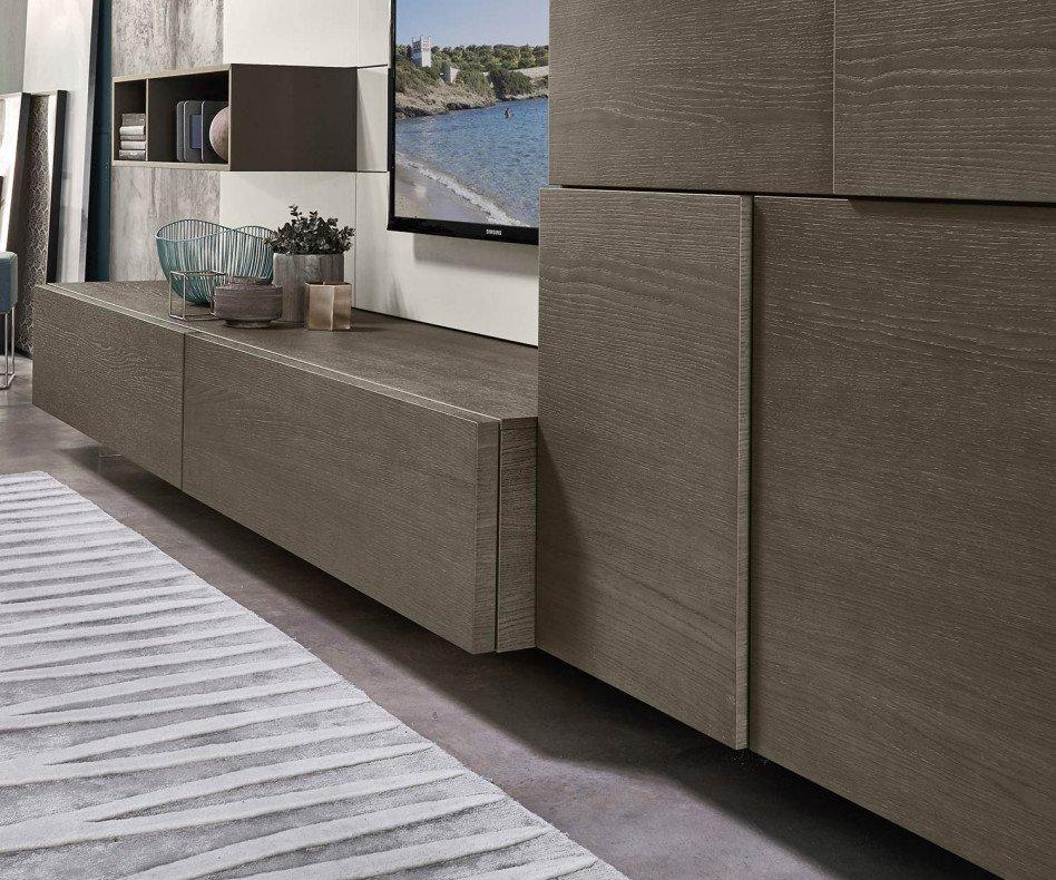 Exklusive Livitalia Design Wohnwand C34 mit Highboard in Eiche furniert