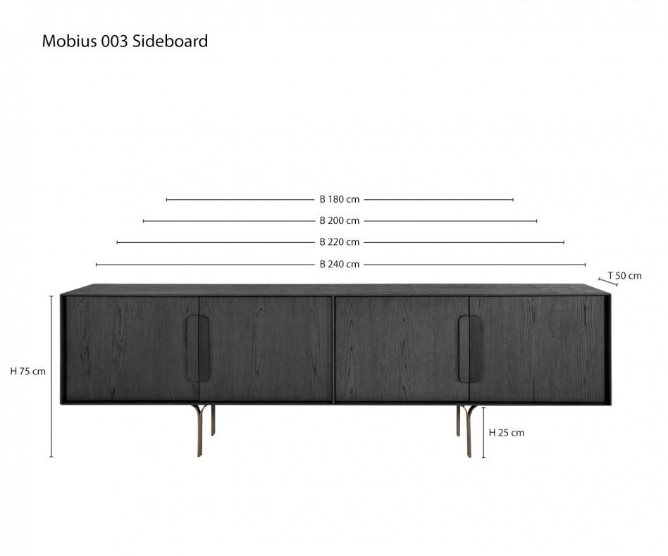 Exklusives al2 Mobius 003 DesignerWohnzimmer Sideboard Korpus furniert