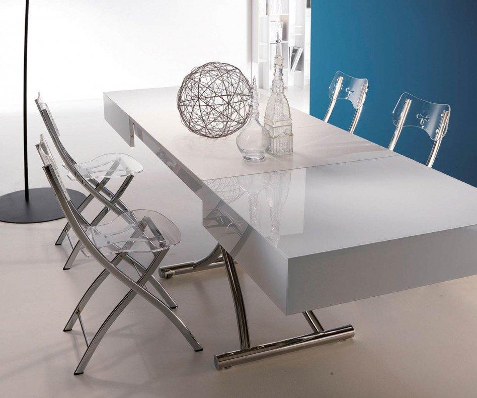 Design Couchtisch Weiß Hochglanz Glas Höhenverstellbar