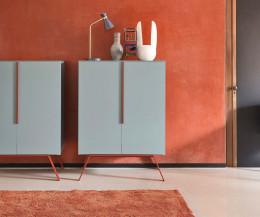 Hochwertiges Novamobili Design Highboard Cleo Hellblau Rot