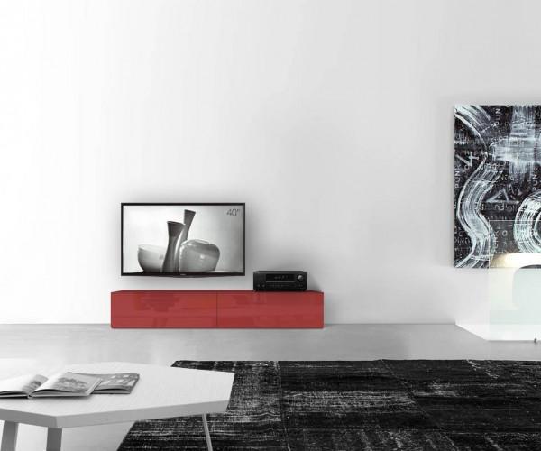 TV Schrank Boden B180 H35 Hochglanz rot