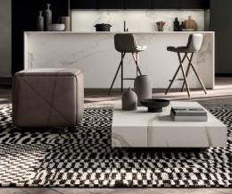 Weißer Ozzio Designer Couchtisch Box mit Calacatta Tischplatte im Wohnzimmer