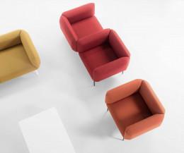 Hochwertiges Prostoria Design Sofa Segment mit Vis-a-vis in Rot