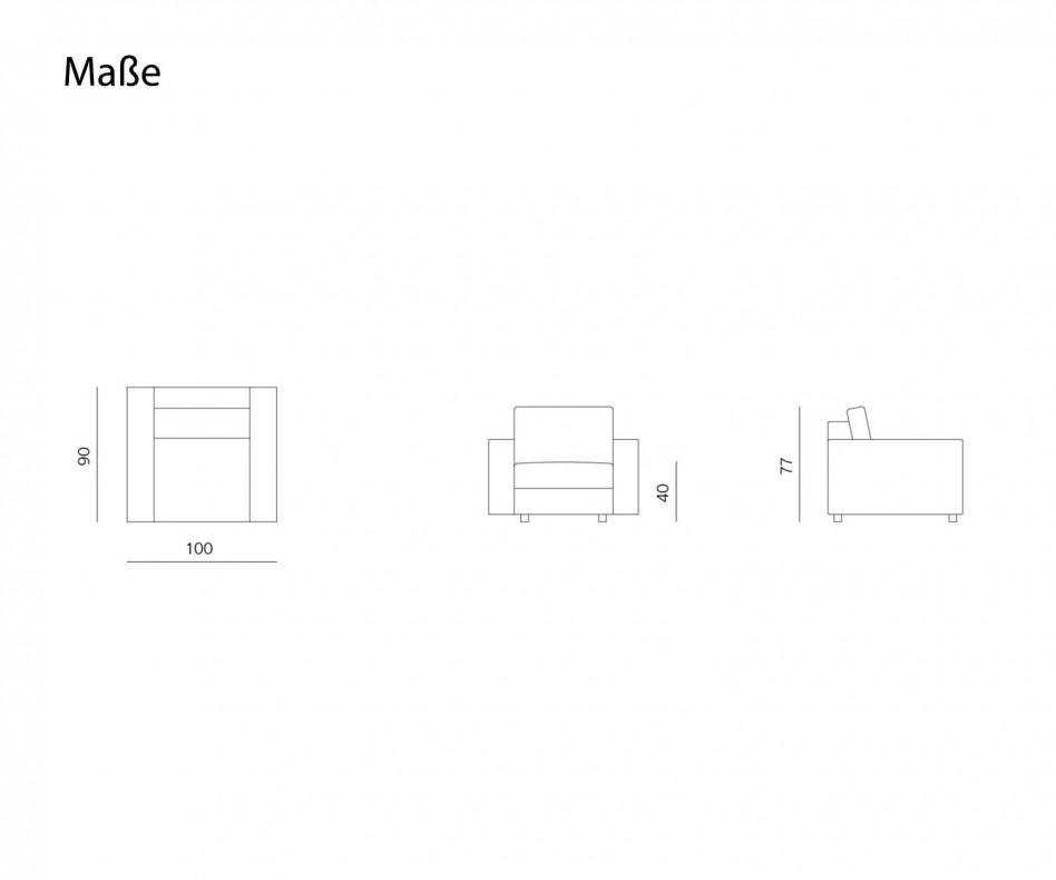 Moderner Prostoria Design Sessel Classic in Grau im Wohnzimmer