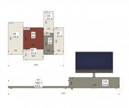 Hochwertige Livitalia Designer Wohnwand C49 Skizze Größen Größenangaben