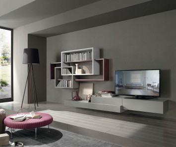 design wohnwand mit schwebenden tv board und h ngeschr nke. Black Bedroom Furniture Sets. Home Design Ideas