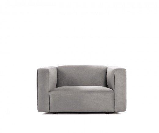 Exklusiver Prostoria Designer Sessel Match L mit grauem Stoffbezug