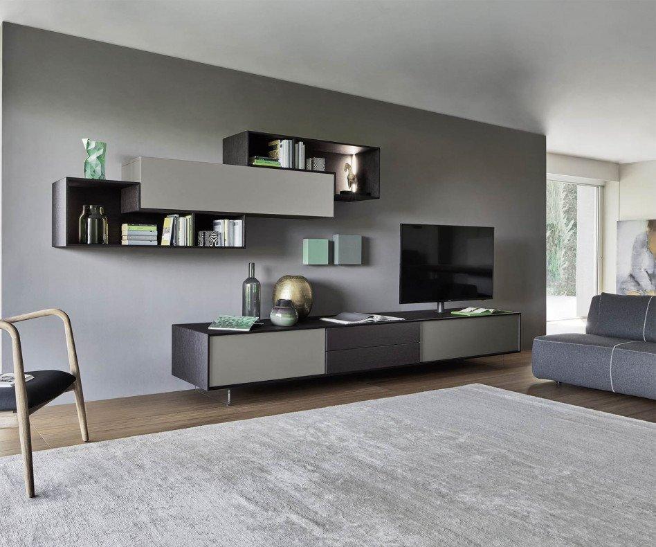 Livitalia wohnwand c18 holz optik grau matt for Holz wohnwand