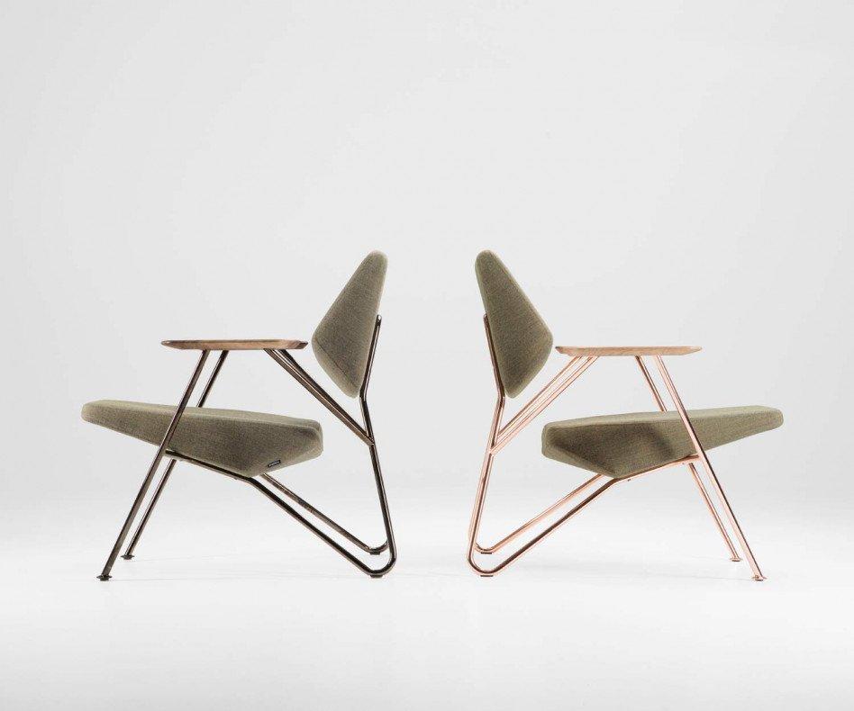 Hochwertiger Prostoria Designer Sessel Polygon mit Kupfergestell