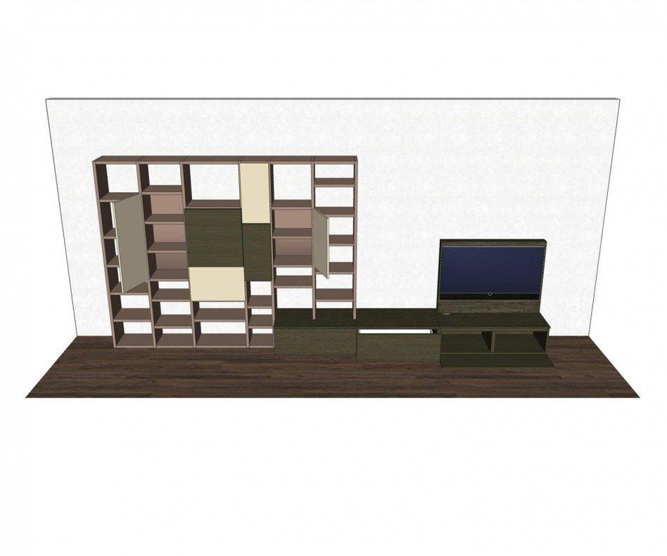 Exklusive Livitalia Design Wohnwand C45 mit Bücherregal