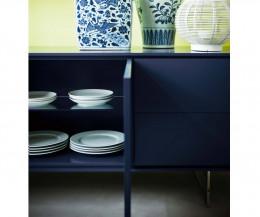 Hochwertiges Novamobili Sideboard Schatten 3 Blau Matt Detail offene Tür Einlegeboden