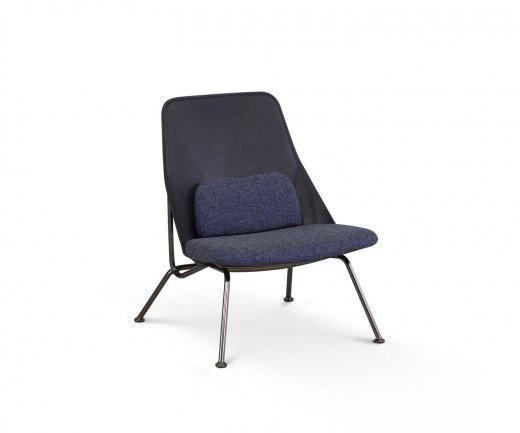 Hochwertiger Prostoria Design Sessel Strain Leder Schwarz Gestell in Schwarz