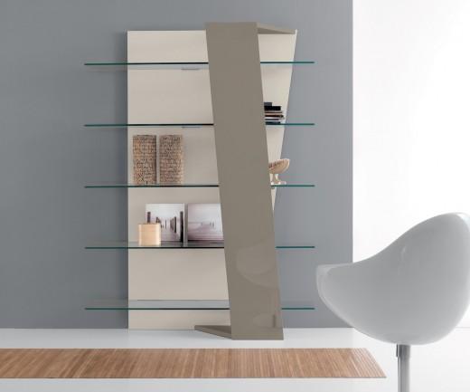Compar Bücherregal Book mit Glasböden in Wallnuss oder in taubengrauer Glanzlackierung